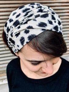 bandeau à cheveux pour pelade doux à motif léopard crème
