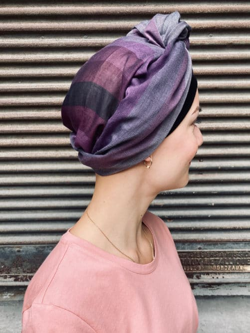 Foulard pour chimio en voile de coton Violet