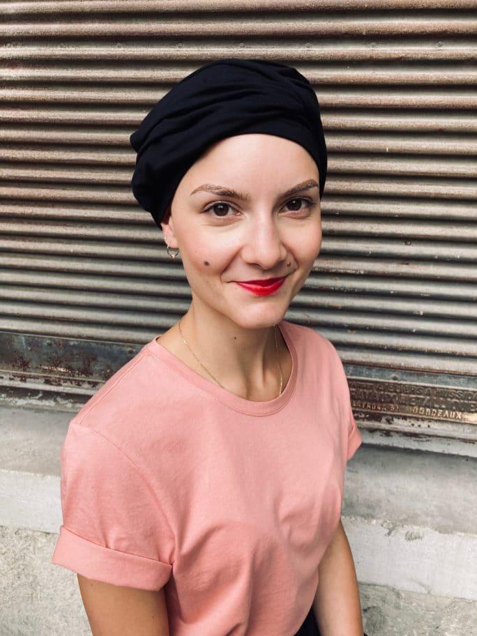 Ensemble bonnet et bandeau chimiothérapie en bambou noir