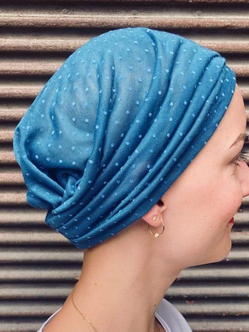 Bandeau chimiothérapie à scratch Plumetis bleu