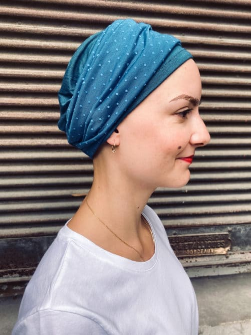 Bandeaux chimiothérapie plumetis bleu
