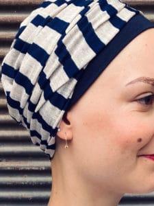 Turban chimiothérapie à rayures Marin