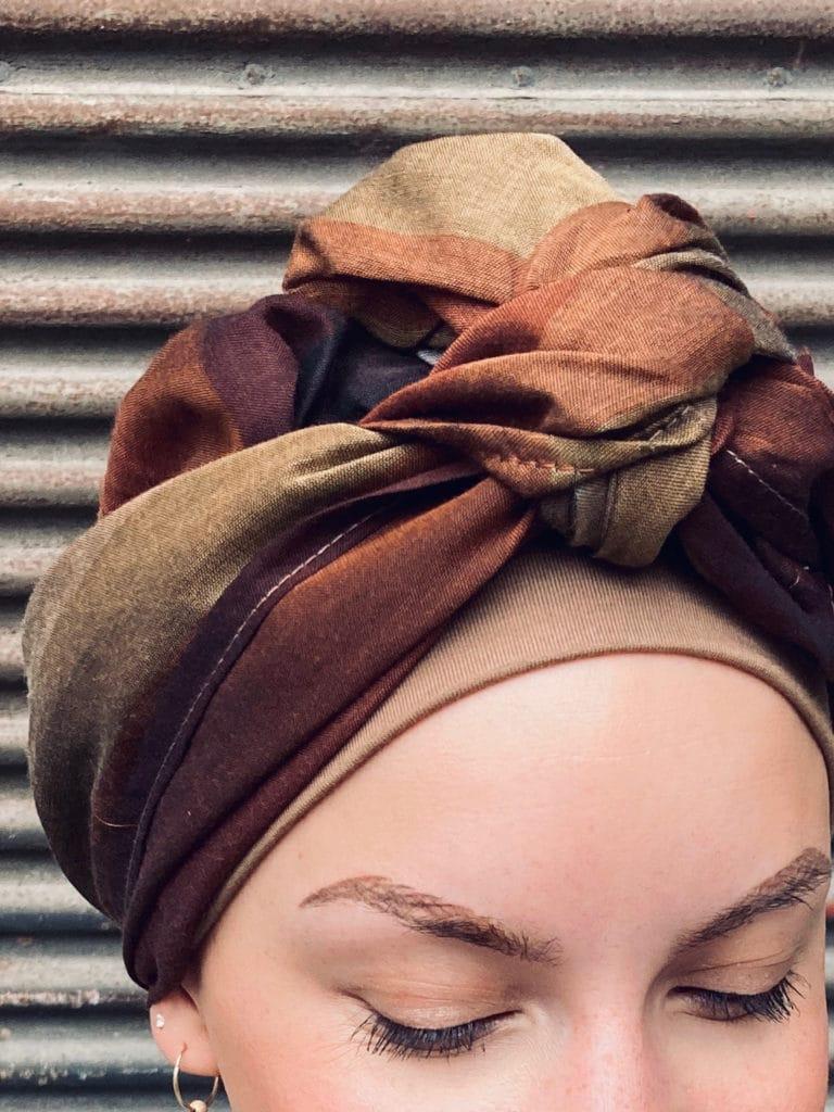 Foulard chimio en coton rayé marron