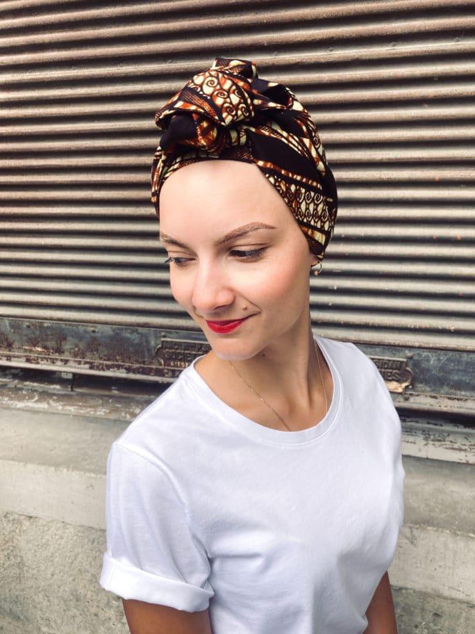 Turban chimio pour pelade et alopécie Wax Moka