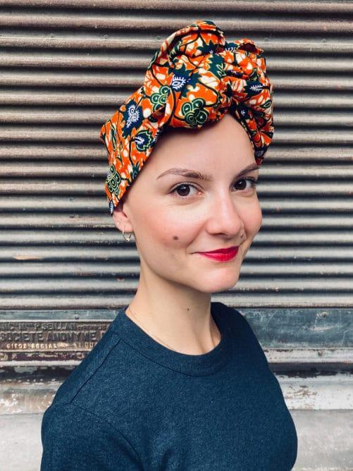 Turban pour pelade en wax orange