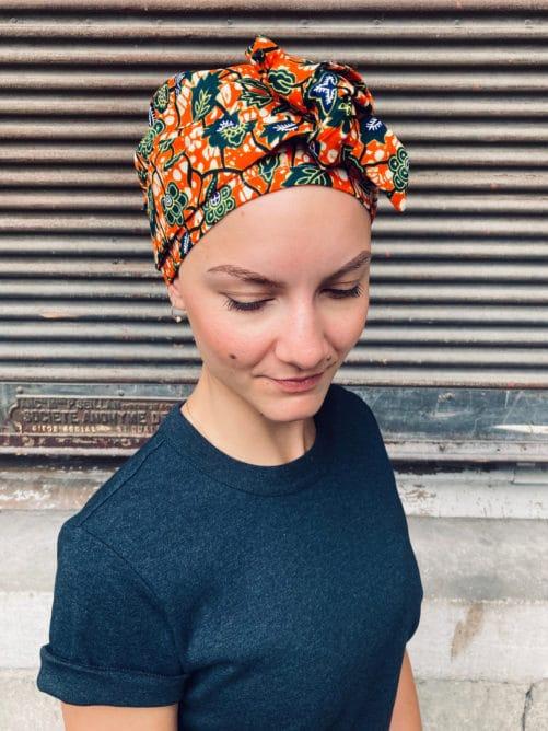 Turban pour pelade et alopécie en wax orange