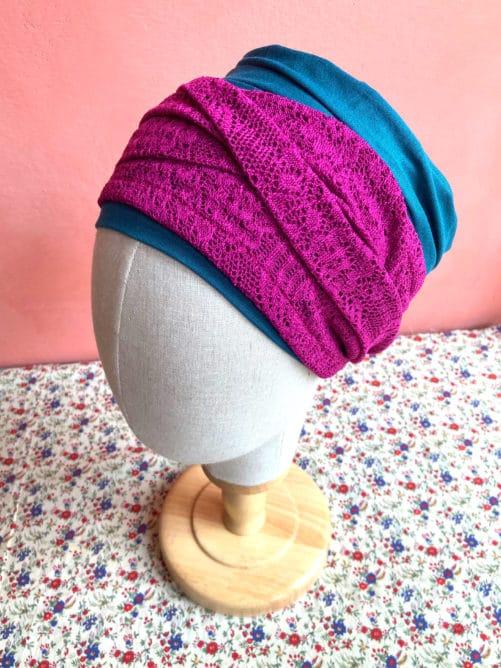 foulards-chimio-dentelle-fushia