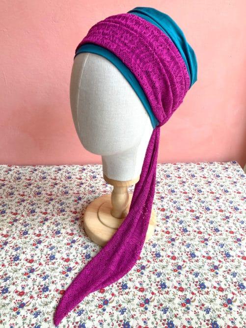 foulards-chimiotherapie-dentelle-fushia