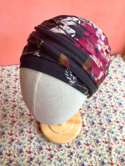 turban_chimiotherapie_fleurs_noir