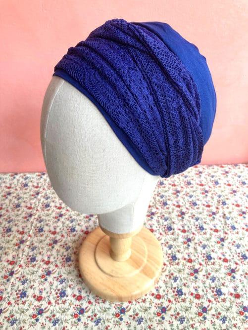 turbans-chimiotherapie-dentelle-bleu-marine